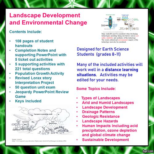 Landscape Development/Environmental Change Learning Activities