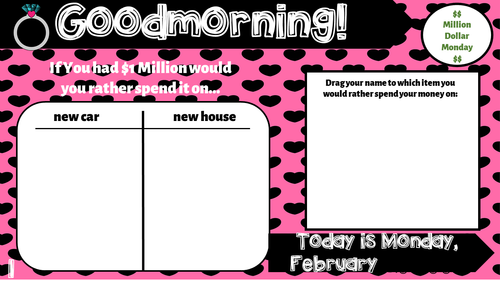 Attendance Tracker Question of the Day Jamboard (February-May GROWING Bundle)