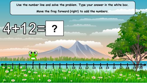 DIGITAL Spring Number Line Addition Subtraction to 20 Interactive Google Slides