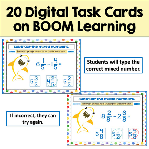 Subtracting Mixed Numbers Boom Cards