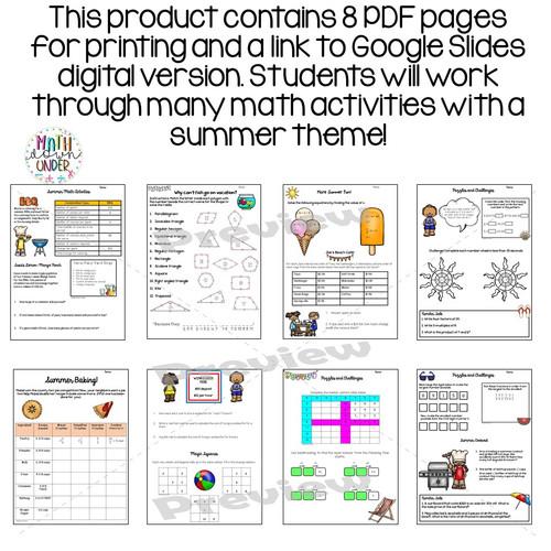 Summer Math Activities for Middle School - Print & Digital