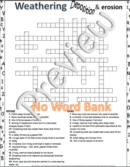 5th Grade Science~Weathering, Deposition, Erosion~Crossword Puzzle~NO PREP