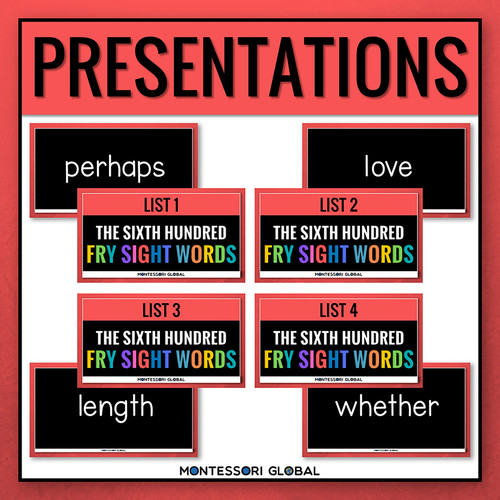 The Sixth Hundred Fry Sight Words divided into 4 lists of 25 words each. The product includes 4 Digital Flashcard PowerPoint Presentations, 4 printable ledger size posters and printable reading cards. Ideal for remote, hybrid and in person teaching.