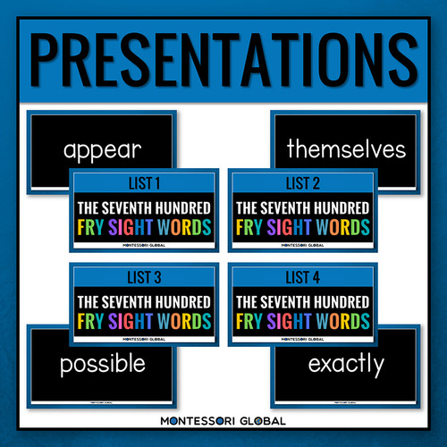 The Seventh Hundred Fry Sight Words divided into 4 lists of 25 words each. The product includes 4 Digital Flashcard PowerPoint Presentations, 4 printable ledger size posters and printable reading cards. Ideal for remote, hybrid and in person teaching.