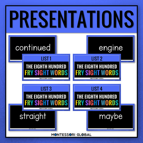 The Eighth Hundred Fry Sight Words divided into 4 lists of 25 words each. The product includes 4 Digital Flashcard PowerPoint Presentations, 4 printable ledger size posters and printable reading cards. Ideal for remote, hybrid and in person teaching.