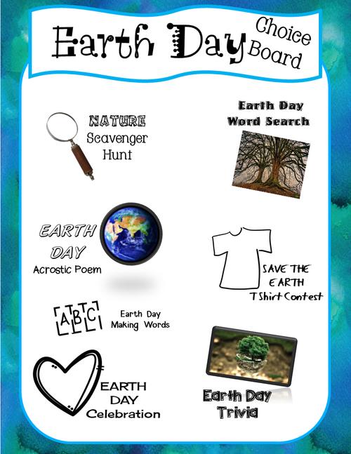Earth Day Choice Board
