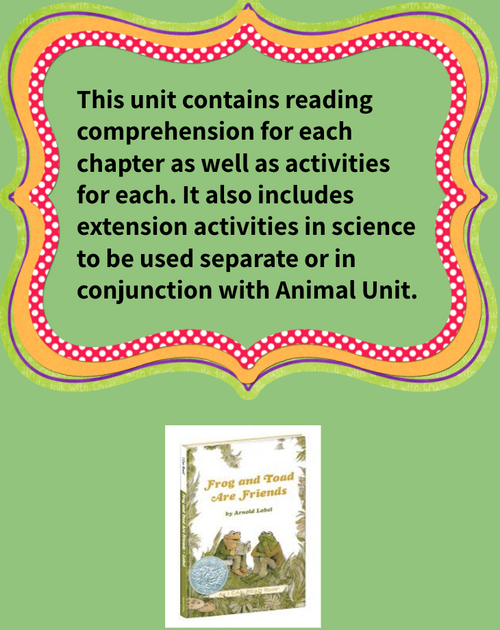 FROG & TOAD ARE FRIENDS READING & ACTIVITIES UNIT