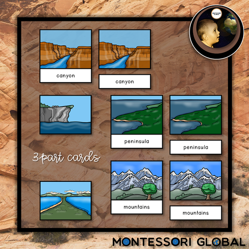 Introduce types of land forms | using Montessori nomenclature cards for Montessori and home-school environments and Boom Cards™ for Distance Learning.