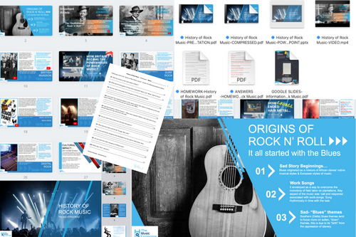 History of Rock Music - FULL LESSON-Distance Learning | Google Slides™