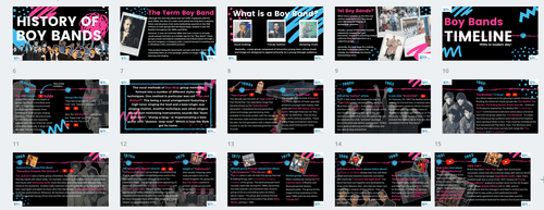 History of Boy Bands- FULL LESSON-Distance Learning   Google Slides™