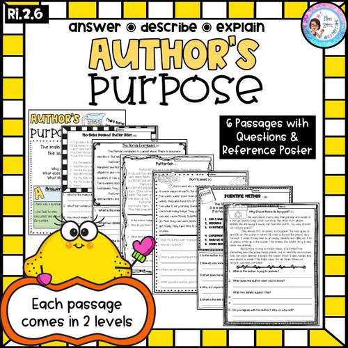 Author's Purpose Passages: RI.2.6 Answer, Describe, Explain (Printable)