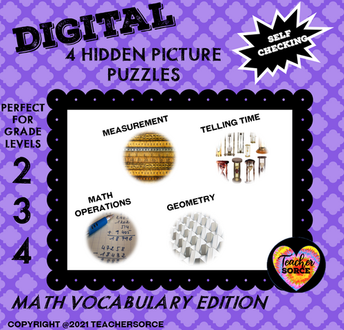 Math Vocabulary (Geometry, Telling Time, Operations and Measurement) Hidden Mystery Pixel Art Puzzle