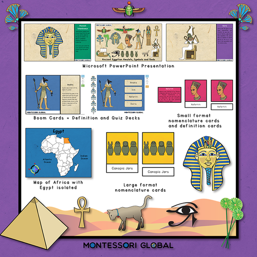Ancient Egyptian Amulets Symbols & Gods | 3 Part Cards | Boom Cards | PowerPoint