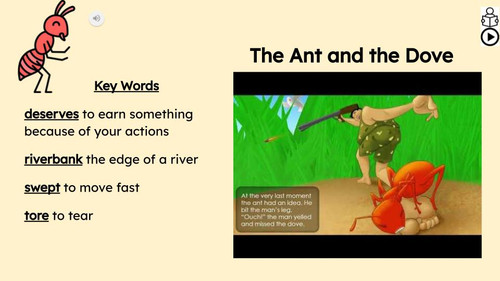 The Ant and the Dove Reading Passage and Activities