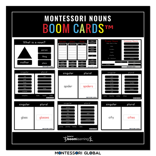 Montessori | Grammar Boom Cards | Nouns | 24 Decks | Distance Learning