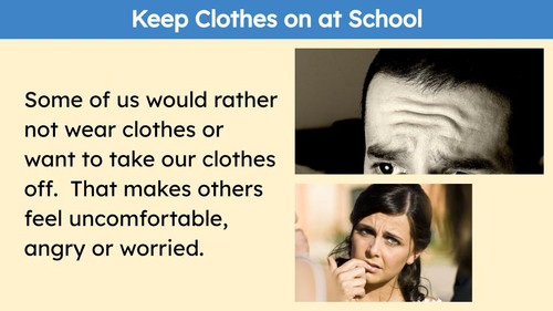 Social Story Keep Clothes on at School