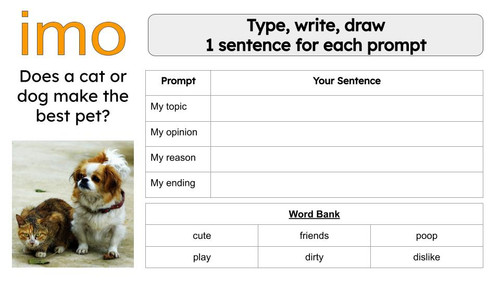 FREE Opinion Writing Prompt