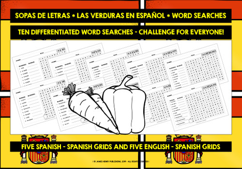 SPANISH VEGETABLES WORD SEARCHES
