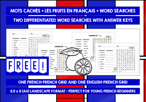 FRENCH FRUITS WORD SEARCHES