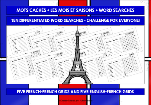 FRENCH MONTHS & SEASONS OF THE YEAR WORD SEARCHES