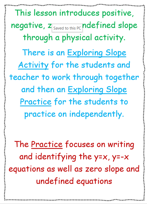 Exploring Slope Activity and Practice
