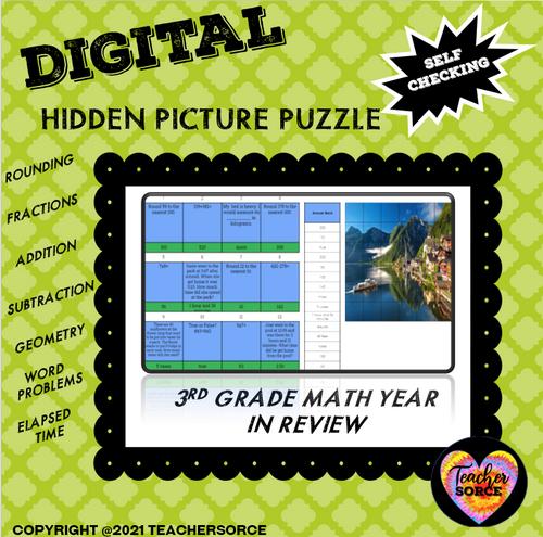 Third Grade Math Review Hidden Mystery Digital Puzzles Bundle