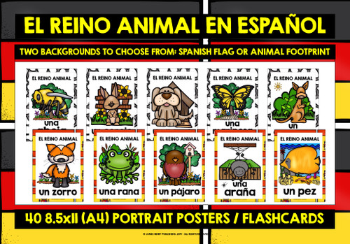 SPANISH ANIMALS FLASHCARDS POSTERS