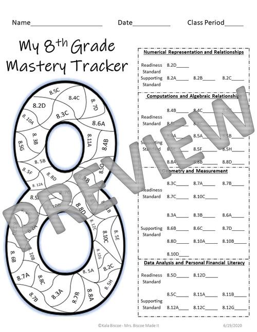 8th Grade Math Data Tracker