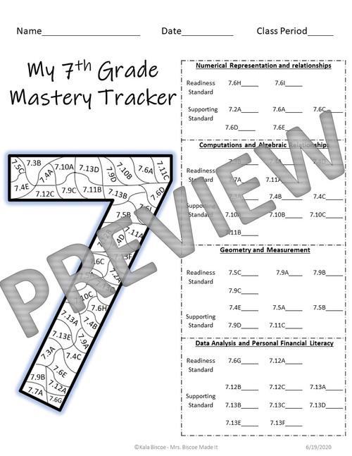 7th Grade Math Data Tracker