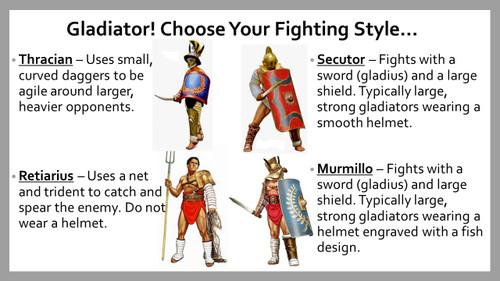 Roman Gladiators Simulation Game