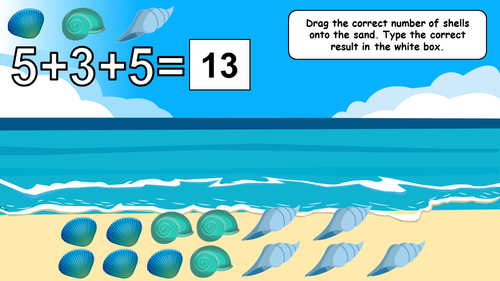 Spring & Summer - Adding 3 Numbers to 20 Drag & Drop Math Google Slides EDITABLE