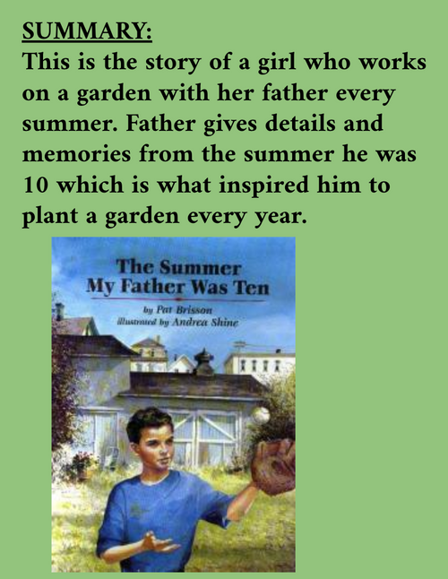 The Summer My Father Was Ten by Pat Brisson Reading & Extension Activities