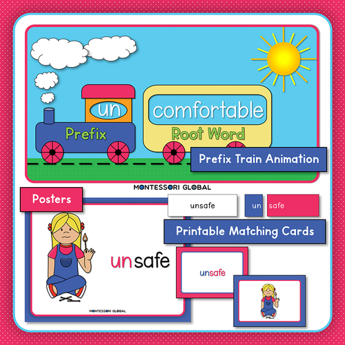 Prefix | un | Presentation | Boom Cards | Montessori Matching Cards and Posters