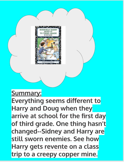 Horrible Harry Moves Up to 3rd Grade Reading Activities