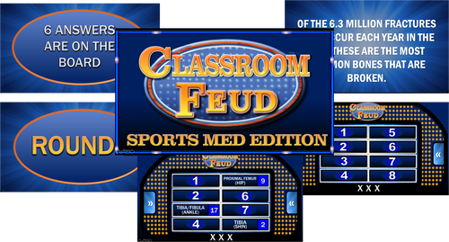 CLASSROOM FEUD- SPORTS MED EDITION! Great game to bring FUN in the classroom!