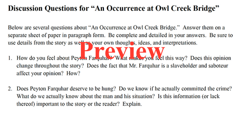 """""""An Occurrence at Owl Creek Bridge"""" Lesson and Activity Pack"""