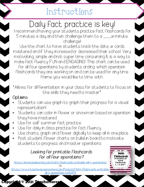 Math Facts Challenge and Printable Fact Flashcards