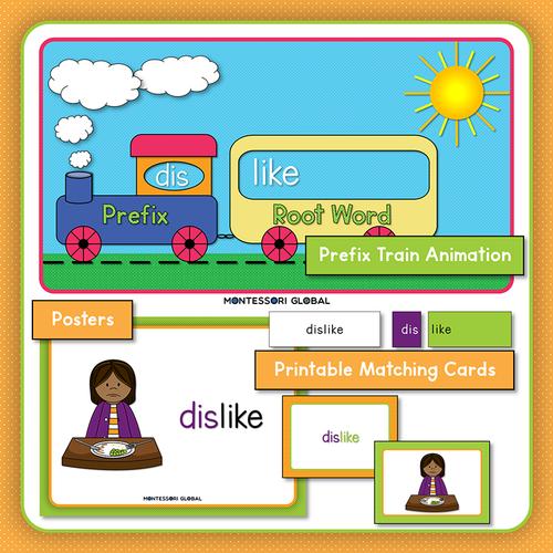 Prefix | dis | Presentation | Boom Cards | Montessori Matching Cards and Posters