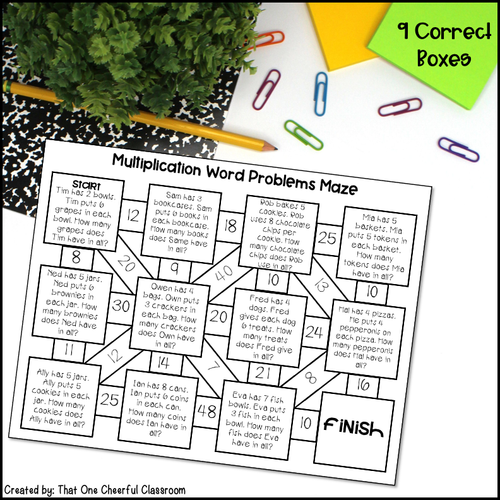 Multiplication Word Problems Printable Maze Activity