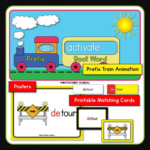 Prefix | de | Presentation | Boom Cards | Montessori Matching Cards and Posters