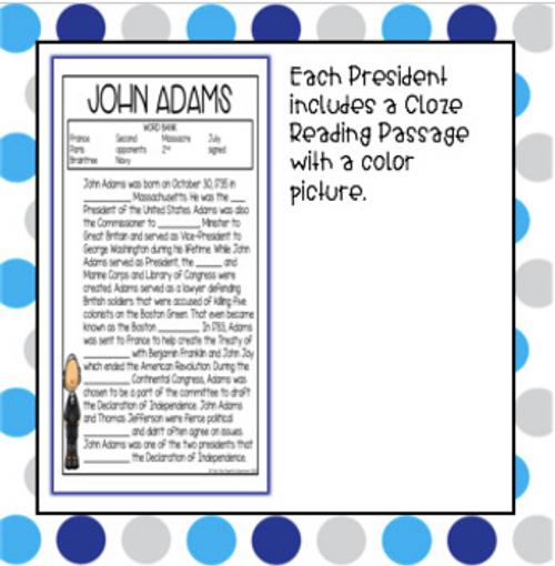 NO PREP Cloze Reading Passages - Presidents Edition