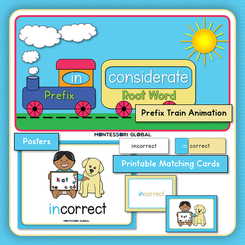 Prefix | in | Presentation | Boom Cards | Montessori Matching Cards and Posters