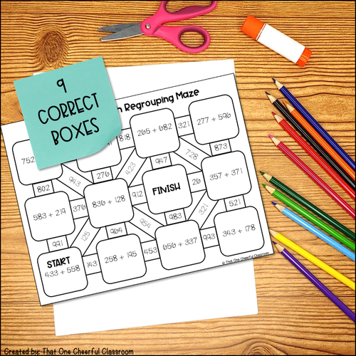 3-Digit Addition with Regrouping Printable Maze Activity