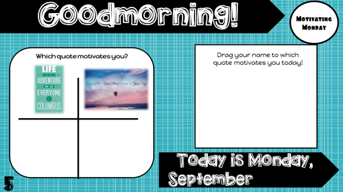 Attendance Tracker Question of the Day Jamboard September