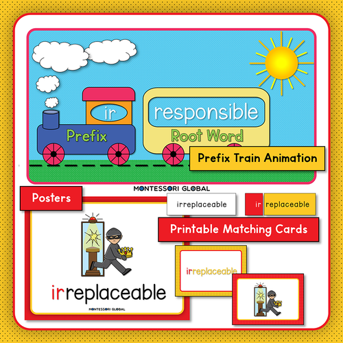 Prefixes   il im ir   Presentation   Boom Cards   Montessori Cards   Posters