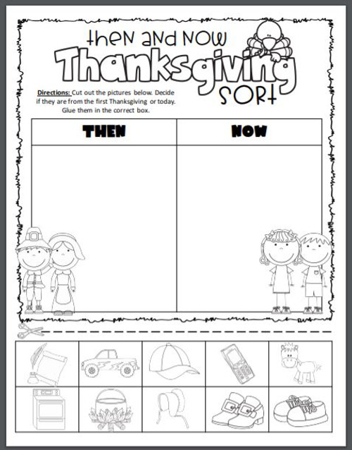 Thanksgiving Then & Now Sort - FREE
