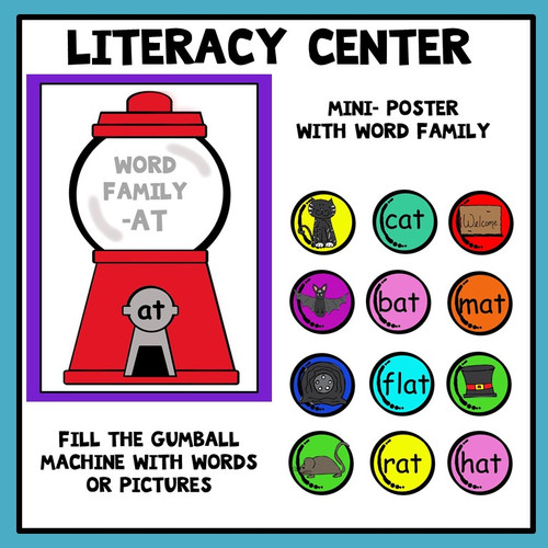 Word Families Literacy Center Gumball Theme