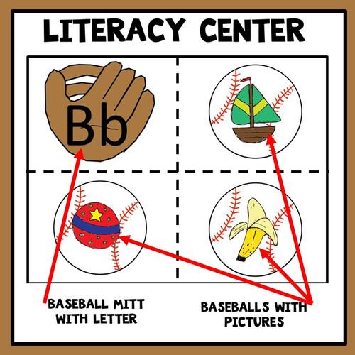 Beginning Sounds Literacy Center Baseball Theme
