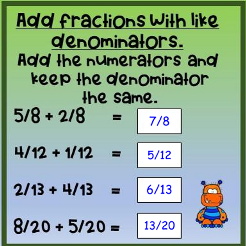 Fractions Review - Adding and Subtracting with Like Denominators - Digital