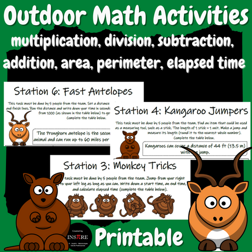 Outdoor Math Activities Multiplication Division Addition Subtraction Time Area